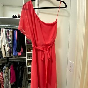 Express coral one shoulder dress